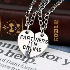 "2Pcs/Set ""Partners In Crime""Letter Silver Pendant Necklace Heart Lover Women/Men"