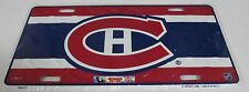MONTREAL CANADIENS LOGO NHL DIAMOND CUT METAL LICENSE PLATE - NEW IN PLASTIC