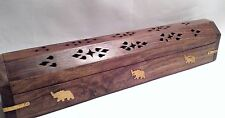 "Hand Carved Wood Incense Burner Smoke Box with Elephant Brass Inlay 12"" (30cm)"