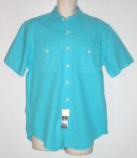 NWT MSRP $89.50 - Men's POLO by RALPH LAUREN Linen Blend S/S Shirt, AQUA, MEDIUM