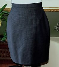 Benetton Black/Blue Check Lightweight Fine Wool Lined Straight Skirt 42 MINT