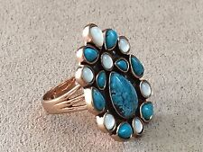 CL Turquoise and Mother of Pearl ring set in Bronze size 10