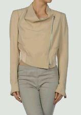 bnwt Ann Demeulemeester beige 100% silk cropped bomber jacket.sz 38.uk 8-10.£795