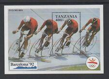 Tanzanie 1991 jeux olympiques barcelone (1st édition) min feuille MS877a * neuf sans charnière *