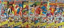 LOT OF 9 SEALED 1976 MARVEL & DC SUPER HERO STAMPS! IRON MAN! THOR! WONDER WOMAN