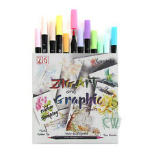 Zig Twin Art & Graphic Pen PASTEL Set 12 Double Ended Artist & Craft Marker Pens