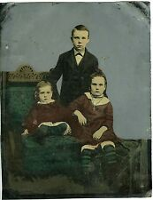 PHOTO FERROTYPE TINTYPE HAND TINTED DES ENFANTS PRENNENT LA POSE 1870
