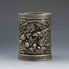 Chinese Tibeten Silver Hand-Carved Dragon Brush pot w XuanDe Mark