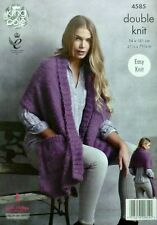 KNITTING PATTERN Ladies Easy Knit Wrap Poncho with Pockets DK King Cole 4585