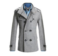 Military Style Double Breasted Peacoat Casual Slim Fit Jacket Trench Coat PK95