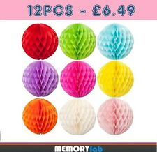 """12 MIXED SIZE 6"""" 8"""" 10"""" INCH PARTY WEDDING TISSUE HONEYCOMB BALLS - MULTI COLORS"""