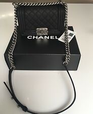 Authentic NEW 2016 CHANEL Small Black Caviar Quilted Boy Bag Ruthenium Hardware