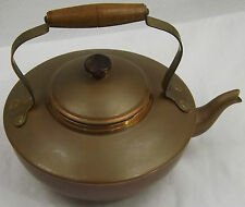 Vintage Argy Europe French Copper Kettle Tin Lined Brass Wood Handle Circa 1930s