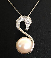 Classic genuine 925 sterling silver freshwater Swan pearl zc pendant necklace