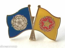 Yorkshire & Lancashire Rose Flags Friendship Courtesy Enamel Lapel Pin Badge
