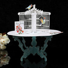 3D Table&Birdcage Pop Up Greeting Card Birthday Wedding Gift Handmade Postcard