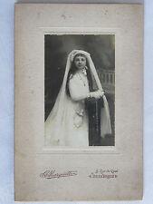 09C25 ANCIENNE PHOTOGRAPHIE PHOTO CDV ENFANT FILLE COMMUNION DUNKERQUE VERS 1900