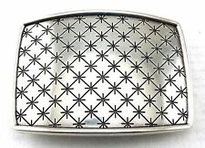 WESTERN ANTIQUE SILVER ENGRAVED CROSS LINE PATTERN BELT BUCKLE BLANK NEW