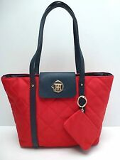 TOMMY HILFIGER Women's Handbag *Red/Navy Blue Tote Shoulder Purse New