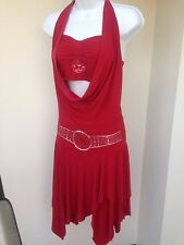 SuJetGar Women's Jr Girl's Ballroom Latin Salsa Rhytm Dance Red Dress Size M/L