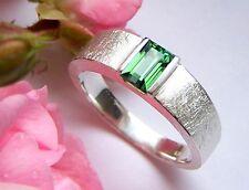 UKM  Silber Ring  grün Turmalin Indigolith  Rechteck 6 x 4 mm 0,70 ct  Weite 59
