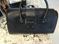AUTHENTIC CHRISTIAN  DIOR PARIS Black  Leather Monogram Handbag Tote/Doctors Bag
