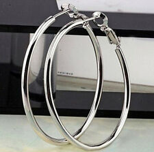 FD744 Vintage Bohemia Silver style Elegant Circle Women's Hoop Earrings 1Pair #