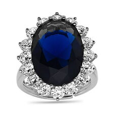 Princess Diana Oval Shape Blue Sapphire & CZ .925 Sterling Silver Ring