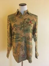 Womens Ralph Lauren Shirt Button Down Blouse Horse & Rider Fox Hunt Size Small