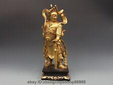"16""China Pure Bronze 24K Gold Veda Wei Tuo Buddha Buddhist Custodian God Statue"