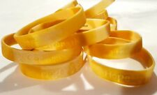 Wholesale lot 60 GOLD Ribbon Awareness rubber bracelets Childhood Cancer