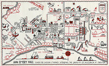 """11""""x18"""" University of Wisconsin Madison 1927 Campus Map Women Students Ann Emery"""