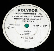 """The Bee Gees - Words / Sinking ships BRAZIL 7"""" Single PROMO Press 1968"""