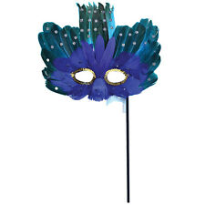 ADULT #BLUE AND GREEN FEATHER EYE MASK ON STICK HALLOWEEN FANCY DRESS ACCESSORY