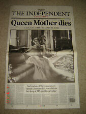 The Independent newspaper 31st March 2002 Queen Mother dies MINT