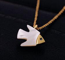Collier Kette vergoldet Perlmutt Fisch Anhänger