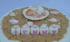 Edible baby girl & edible sea shell personalised Christening Baptism cake topper