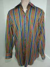 ETRO Mens Long Sleeve Button Front Shirt 39 Large Orange Green Blue Red Stripe