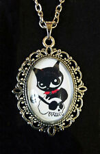 Doom Kitty Ruby Gloom Cat Antique Silver Pendant Necklace Goth Steampunk
