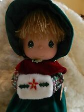 Precious Moments Doll of the Month w/Stand 1988 Beautiful! Christmas Themed!