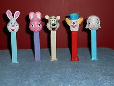 PEZ BUNNY RABBITS & CLOWN DISPENSERS VINTAGE LAMB BEAR LOT OF 5 CHARACTER PEZ