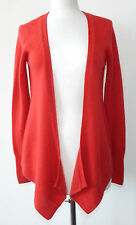 NEIMAN MARCUS Rose Red Cashmere Open Front Cascading Cardigan Sz Small