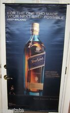 JOHNNIE WALKER BLUE LABEL Big Satin Advertising Banner Scotch Whisky Sign