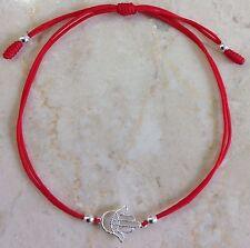 Sterling Silver 925 Hamsa Hand  Evil Eye Red Cord Bracelet
