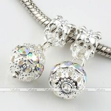 5x Dangle Ball Crystal European Loose Beads Fit Charms Snake Bracelet DIY