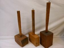Antique Wooden Wood Square Mallets Hammers Carpenter Woodworking Tools