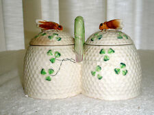 Vintage Porcelain Jam Jelly Jar Set Bees on Beehive Occupied Japan
