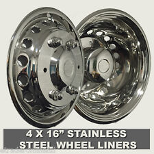 "MERCEDES SPRINTER TWIN REAR WHEEL 06  16"" STAINLESS STEEL WHEEL TRIMS LINERS X 4"