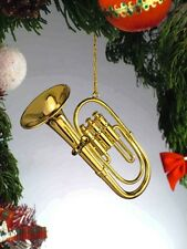 "GOLD BRASS TUBA MUSICAL INSTRUMENT 3 3/4"" CHRISTMAS ORNAMENT GIFT BOXED"