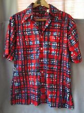 Mens Vintage Retro PRINT SHIRT polyester short sleeve No Iron Towncraft JCPenney